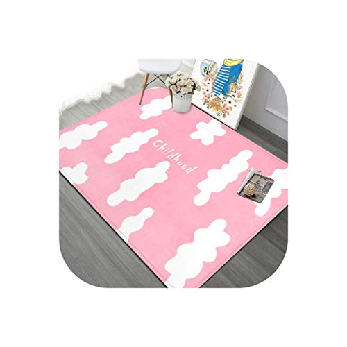 Cartoon Clouds Carpet Kids Room Soft Living Room Carpets Home Decoration Bedroom Rug Study Room Floor Mat Children Crawling Rugs,Pink,190x240cm