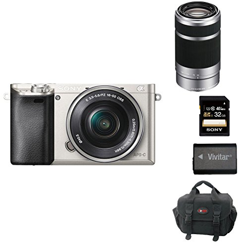 Sony Alpha a6000 24.3 MP Interchangeable Lens Camera Bundle with 16-50mm Power Zoom Lens, Sony 55-210mm f/4.5-6.3 Telephoto Lens and Accessories (22 Items)  (Sony A6000 Best Settings)