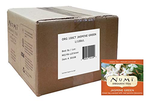 Numi Organic Tea Jasmine Green, 100 Count Box of Tea Bags (Packaging May Vary)