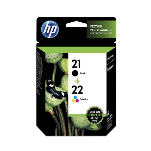 HP 21 Black & 22 Tri-color Ink Cartridges, 2 Cartridges (C9351AN, C9352AN) for HP Deskjet D1311 D1320 D1330 D1341 D1420 D1430 D1445 D1520 D1530 D2330 D2460 F340 HP Officejet 4315 - 21 Inkjet Cartridge Print