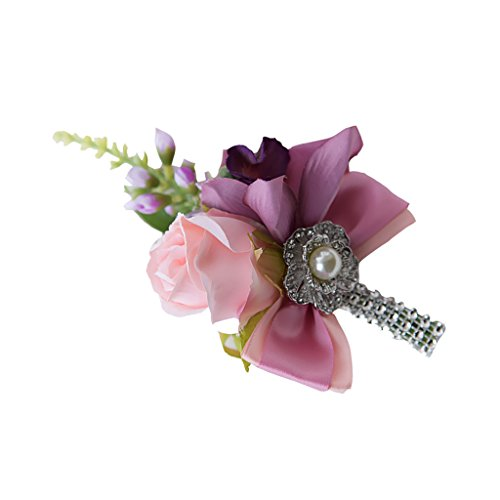 MagiDeal Silk Wedding Flower Roses Bride Bridal Bouquet Brooch Corsage Bridesmaid Valentine's Day Boutonniere Bridal Shower Prom Decor - Pink Carnation, as described ()
