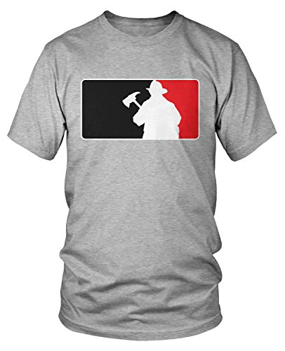 Amdesco Men's Firefighter Silhouette Emblem, Fire Fighter T-Shirt, Heather Gray Large