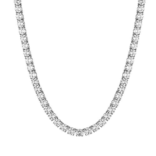 MASTER OF BLING 1 Row Tennis Chain Mens White Gold Finish 22 Inch Solitaire Lab Diamond Necklace 8mm