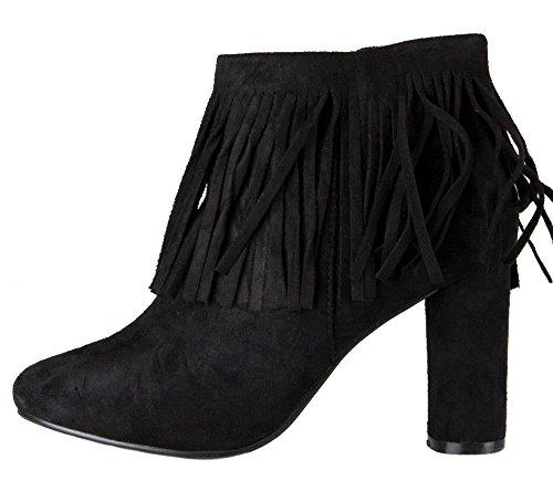 S LADIES HIGH BOOTS BLOCK COWBOY HEELED 3 WOMENS ANKLE HEEL Style CUBAN SIZE WESTERN WINTER 8 BOOTIES Black MID 8TxIqd