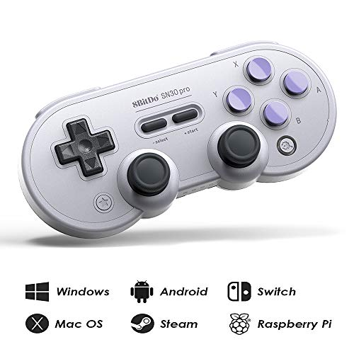 (8Bitdo SN30 Pro Wireless Bluetooth Controller with Joysticks Rumble Vibration USB-C Cable Gamepad for Windows, Mac OS, Android, Steam, etc, Compatible with Nintendo Switch)