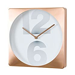 Time Concept 12 Square Number Wall Clock - Copper - Metal Steel Frame, Analog Time Display, Home Décor