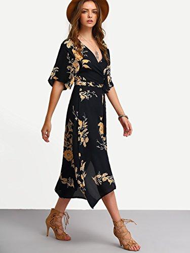 e9afeb4ac5a27 Milumia Women s Boho Deep V Neck Floral Chiffon Wrap Split Long Dress