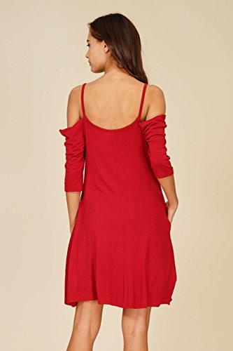 Annabelle De L'épaule Froide Des Femmes Une Ligne Robes De Sangle Rouge Foncé Poches
