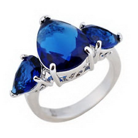 jacob alex ring Sz5 Pear Cut Royalblue Sapphire Gem Engagement Ring 10KT White Gold Filled by jacob alex