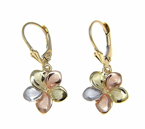 14K solid gold tricolor Hawaiian 13mm plumeria flower leverback earrings by Arthur's Jewelry