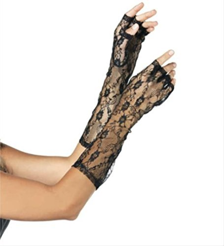 Leg Avenue Elbow Lengh Lace Fingerless Gloves (One Size, (Leg Avenue Elbow)