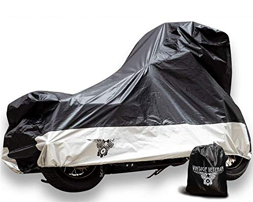 Vintage Veteran XXLarge Motorcycle Cover - All Weather Outdoor Durable Protection, Waterproof, Windproof, No-Scratch Lock Holes and Windshield ()