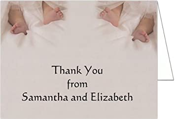 Amazon Com Twin Toes Baptism Christening Thank You Cards Set Of
