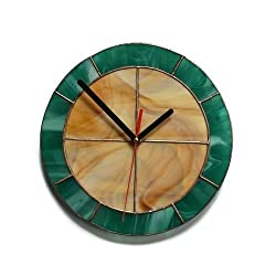 Modern Minimalist Wall Clock 8.5 Wood Brown and Teal, Simple Design, Unique Handmade Stained Glass Art