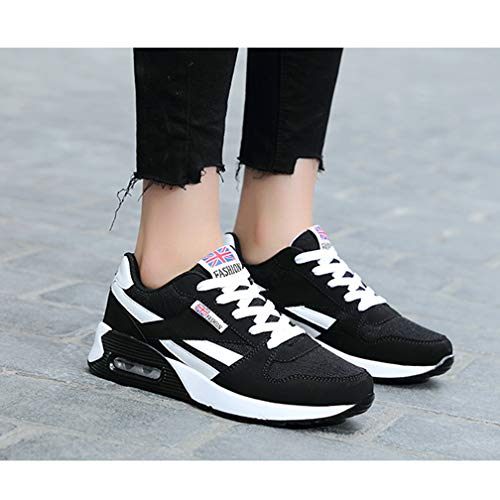 de Plataforma a Ligero Hishoes Zapatillas Mujer Zapatos Cu 2Negro de Verano Malla Deporte qn5W5U8r