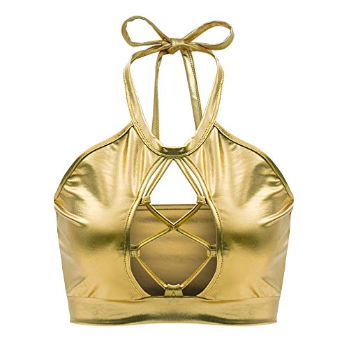 Flyrose Women's Metallic Keyhole Cutout Backless Halter Rave Dance Crop Tube Top Bra]()