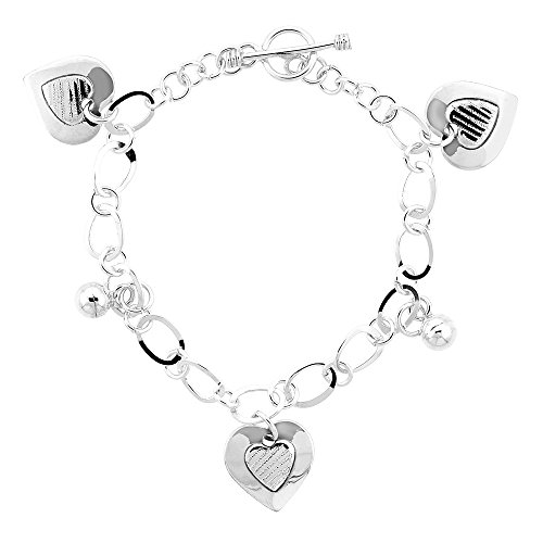 Sterling Silver Hearts and Balls Toggle Bracelet, 7.5 inches (Silver Ball Toggle Bracelet)