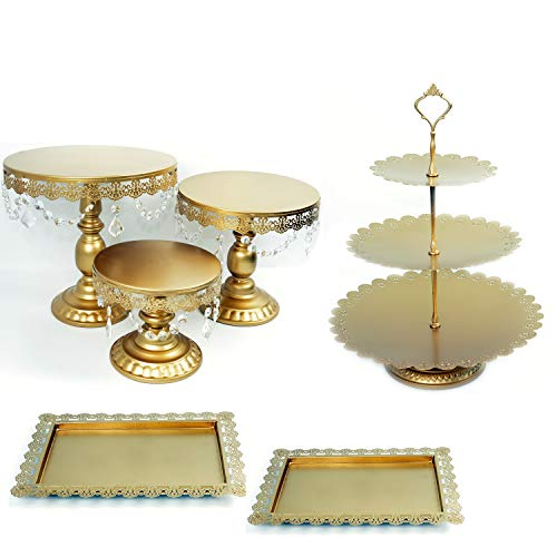 Proshopping 6 Set Antique Metal Cake Stand, Classical Round Cupcake Holder, Cake Plate Tray, Cookie Pedestal Display Tower, for Wedding Birthday Party, with Crystals Pendants and Beads, Gold