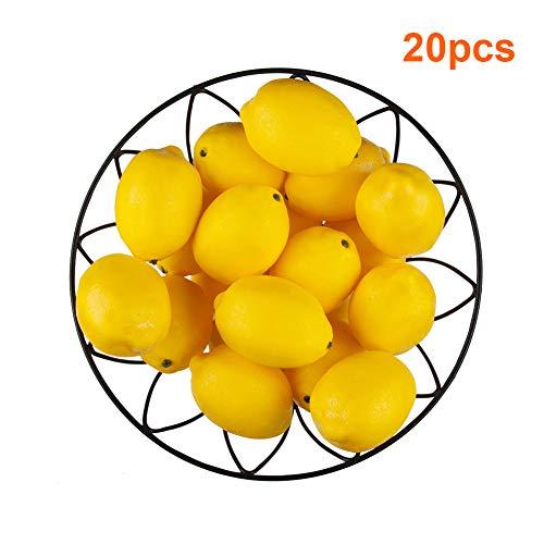 20 PCS Yellow Artificial Lemons, 3.7'' X 2.56'' Fake Fruit Lemons Artificial Lifelike Simulation Lemon for Home House Kitchen Party Decoration (Decorative Lemons)