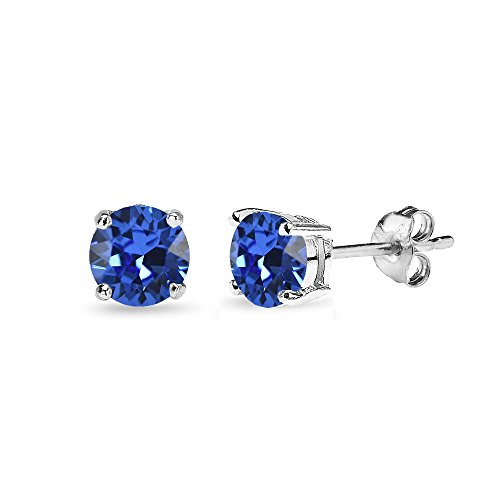 Sterling Silver 5mm Round Blue Stud Earrings created with Swarovski Crystals