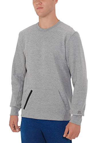 Russell Athletic Men's Cotton Rich Fleece Sweatshirt, Medium Grey Heather, - Polyester 25% Sweatshirt