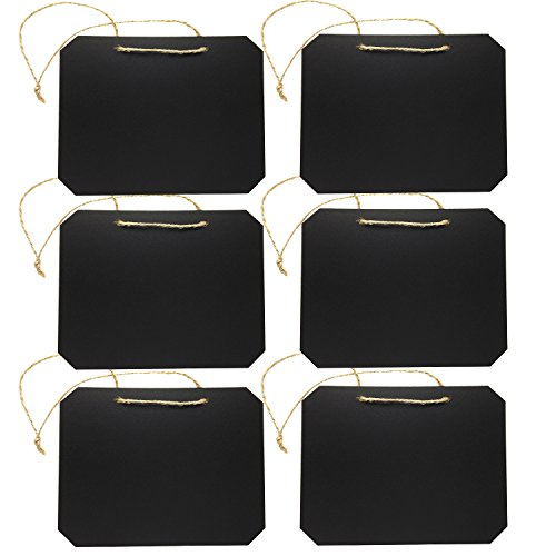 Vfevrs Black Rectangle Chalkboards Label 6.5 x 5 Inch Blackboards for Message Board Signs (Set of 6) by UHQ Home Products