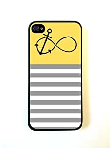 Anchored-Forever Yellow & Grey Stripes Black iPhone 5 Case - For iPhone 5/5G - Designer PC Case Verizon AT&T Sprint