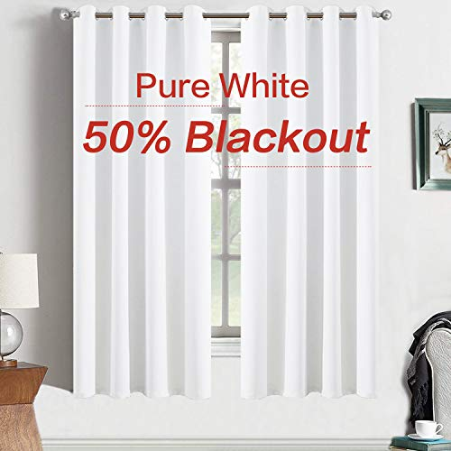 (Yakamok Thermal Insulated Blackout Curtains,Room Darkening Grommet for Bedroom/Baby Room,2 Tie Backs Included (2 Panels, 52 Inch Wide by 63 Inch Long, Pure White))