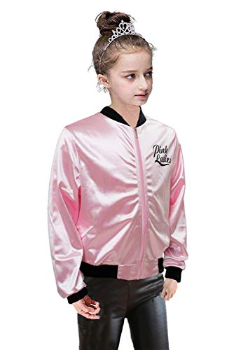 NEWCOS Pink Ladies Jacket for Child 50S T Bird Danny Pink Satin Jacket Halloween Costumes Little Girls' Coat Size (Pink Ladies From Grease)