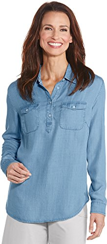 Top Protection Layer Spf 20 (Coolibar UPF 50+ Women's Chambray Tunic Top - Sun Protective (XX-Large- Light Blue Chambray))