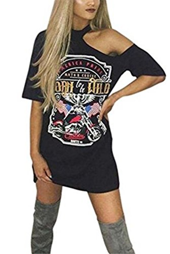 SHUNLIU Damen Frauen Vintages weg vom Schulter Rock Art langes T-Shirt Minikleid Long Mini Dress