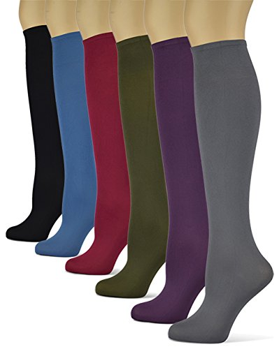 Silky Smooth Knee High Trouser Socks by Sox Trot | Thin Material | Made in USA (Solid Jewels) 6 Pack