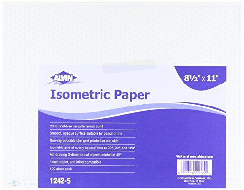 Amazon.Com: Alvin 1242-5 Isometric Paper 100-Sheet Pack 8.5 Inches