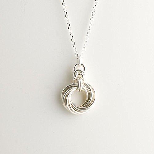Byzantine Knot - 10 ring Byzantine Love Knot Necklace - Sterling Silver