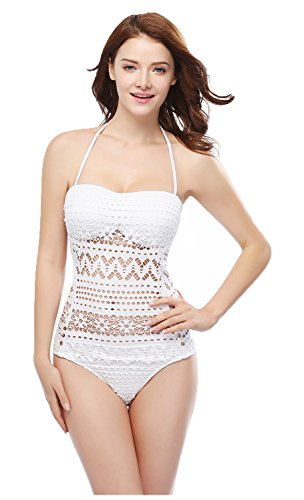 Women's Crochet Hollow Out Halter/Strappy Adjustable Swimsuit, White