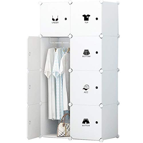 KOUSI Portable Clothes Closet Wardrobe Bedroom Armoire Dresser Cube Storage Organizer, Capacious & Customizable, White, 5 Cubes&1 Hanging Section by KOUSI