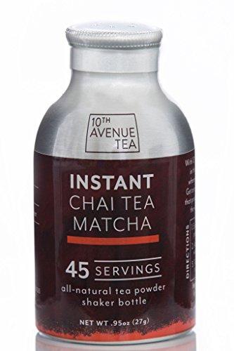 10th Avenue Tea - Natural Instant Tea Powder - Chai Matcha - 45 Servings - No Sugar, No Calories, No Preservatives - Instant Latte, Hot or Iced Tea