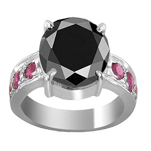 Certified 2.88 Ct Round Black Diamond with Ruby Accents Designer Silver Ring by skyjewels