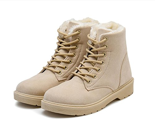 YCMDM Snow Boots inverno Martin Stivali Donne più velluto scarpe caldo cotone impermeabile grigio beige nero Brown 39 36 35 38 40 37 , beige , 35