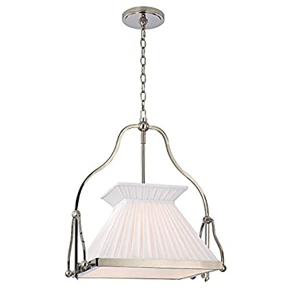 Hudson Valley Lighting Clifton 1 Light Chandelier   Polished Nickel Finish  With White Box Pleat