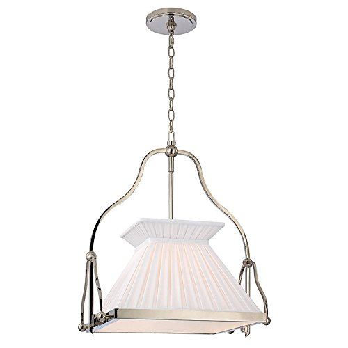 - Hudson Valley Lighting Clifton 1-Light Chandelier - Polished Nickel Finish with White Box Pleat Faux Silk Shade