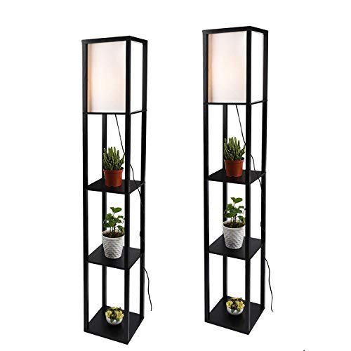 Simple Design Shelf Floor Lamp, White Shade, 63 Inch Height, with Open-Box Shelves, Black, 2 Pack...