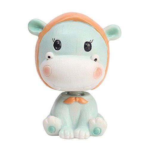 Bobbing Head Cute Animal Car Dash Ornaments Animal Mascot Rocking Head for Car Vehicle Decoration (Hippo)