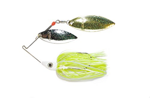 Nichols Lures Pulsator Metal Flake Double Willow Spinnerbait, White/Chartreuse/Nickel Gold, 3/4-Ounce/.44-Magnum