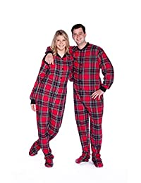 Red & Black Plaid Cotton Flannel Adult Footie Onesie Footed Pajamas with Drop seat
