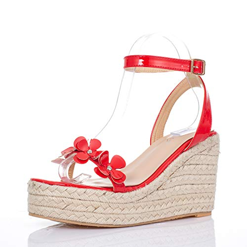 JSUN7 Women's Wedge Sandals with Hemp Rope Flower Band Open Toe Glossy PU Ankle Strap with Buckle Sandals Fashion Party Wedding Platform Shoes for Women Red
