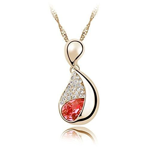 [Yuntun Lady Austrian Crystal Pendant Necklace Cardamom Jewelry(Red+)] (Doe Costume Diy)