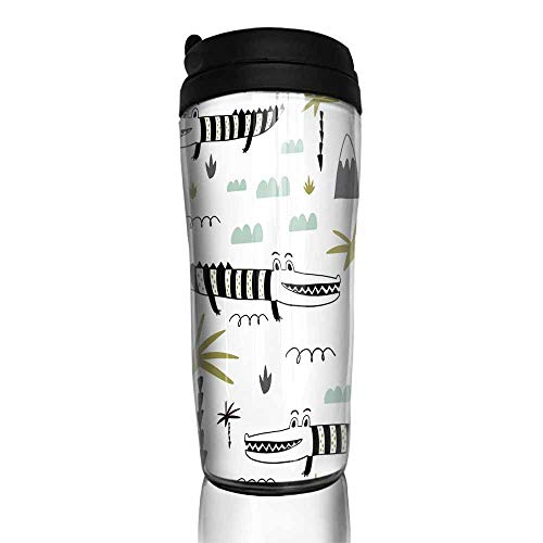 coffee cups with lids 12 oz Seamless childish pattern with hand drawn cute alligators Creative kids texture for fabric wrapping textile wallpaper apparel Vector illustration 12 oz,coffee cup for trav