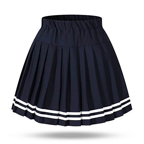 Genetic Women`s Double Layer Elasticated Pleated Skirt(M, Blue White (Stripe Sailor Skirt)