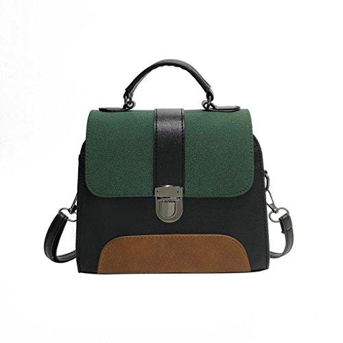 Shoulder Bag, Women Bag Vintage Buckle PU Leather Handbags Ladies Patchwork Crossbody Bags Green